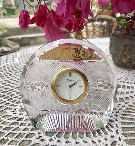 MOSER introuvable pendule en cristal rehaussée d'or en relief : TOP QUALITE