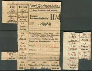 seltene orig. Lebenmittelkarte Sachsen-Anhalt aus dem Aug. 1949 RARE