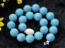 """S2447 Huge 18"""" 20mm Aquamarine Jade Round Bead Necklace shell Pearl clasp"""