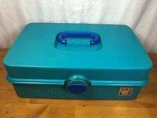 Caboodles Make-Up Storage Travel Case Plastic Turquoise Slide Out Trays USA