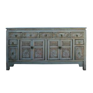 Chinese Distressed Gray Floral Motif Sideboard Console Table Cabinet cs5774