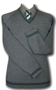 Grey WOOLLEN School Uniform Jumpers Many Trim Colours - trim At Neck Cuffs Welt