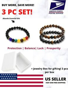 3PC 7 Chakra Lava Tiger Eye Black Onyx Bracelet Meditation Yoga Reiki Beads Gift