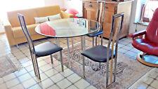Esstisch Glas mit 3 Stühlen Metall und echt Leder Sitzbezug