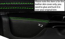 GREEN Stitch 2x FRONT DOOR CARD BRACCIOLO PELLE COPERTINE si adatta a Renault Clio 2013 +