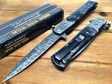TAC-FORCE POCKET KNIFE SPRING ASSISTED MILANO GOD FATHER EDITION  DAMASCUS  DMB