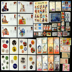 Great Lot, Olympics, FDC, Stamp Set, Button Cards, Currency, Babe, Chagall, Hell