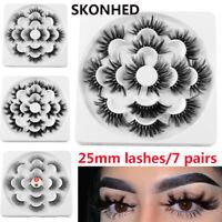 SKONHED 7 Pairs 6D Mink Hair False Eyelashes 25mm Lashes Thick Wispy Fluffy-