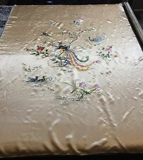 Antique Chinese Silk Hand Embroidered Wedding Sheet Piano Shawl Tapestry
