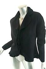 RENA LANGE Black 100% Wool Ruffle Edge Cardigan Sweater-BEAUTIFUL! NWT- 44/US10