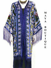 Long Fringe Jacket Kimono Silk Burnout Velvet Blue Multi