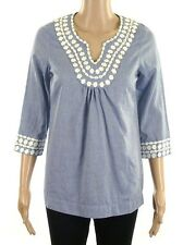 BRAND NEW BODEN COTTON PINK WHITE BLUE TUNIC TOP WITH APPLIQUE BLOUSE SIZE 6 8