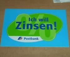 Aufkleber Sticker DEUTSCHE POST/BUNDESPOST/POSTDIENST Ich will Zinsen