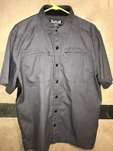 Icon 1000 Scofflaw 2 Shop Button Shirt Mens L Large Gray SS