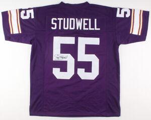 Scott Studwell Signed Minnesota Vikings Jersey (JSA Holo)  2×Pro Bowl Linebacker