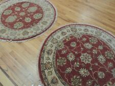 4x4 Round Area Rug Peshawar wool Rust (PAIR available, price is for one)
