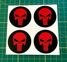 4 x 50mm Alloy Wheel stickers Punisher Red and Black center badge trim cap