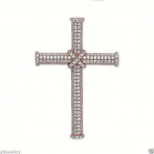 "9CT ROSE GOLD PLATED 925 HALLMARKED SILVER PAVE SET CROSS & 18"" R/G PLATED CHAIN"