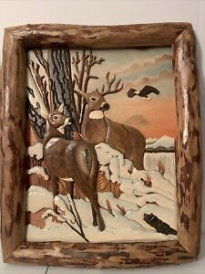 Deer in Woods Hand Crafted Intarsia Wood Art Wall Hanging 23x 27x 3 Inches