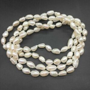 Strand Natural White Baroque Cultured Fresh water Pearl opera Long Necklace 30''
