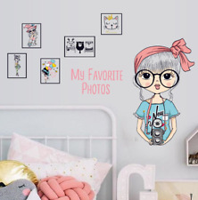 Fashion Photography Girl Photo Frame Wall Sticker Bedroom Lovely Cartoon Decor