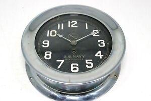 Vinatge Pre WWI Chelsea US Navy No.3 Deck Clock Porthole Ship Nickel Chrome