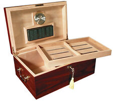 Monte Carlo 120 Cigar Cherry Humidor & Tray & Hygrometer & Large Humidifier Lock