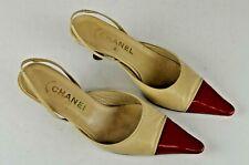 Chanel Women's Kitten Heel Slingback Size 37 Italy Lacquered Toe 6.5 US Cream