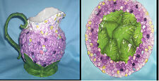 Unusual Decorative Pitcher Embossed Violets & Green Leaves with Matching Plate