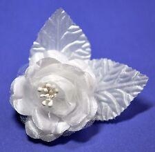 """SMALL 2.5"""" Pure White Satin Rose Silk Flower Hair Clip Wedding Bridesmaid"""