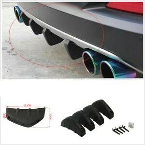 4PCS Car Rear Bumper Lip Diffuser Shark Fin Spoiler Wing Splitter ABS Plastic