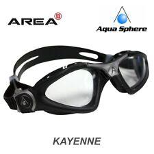 Aqua Sphere Kayenne Swimming Goggles, Clear Lens - Black Silver, Triathlon Goggl