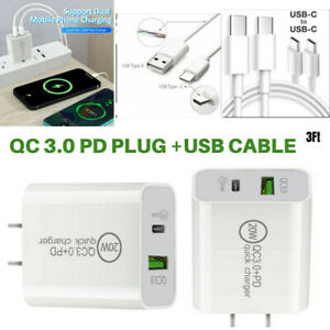 PD Type-C + USB-C 3.0 Charger 20W Fast Wall Power Adapter For iPhone 12 Samsung