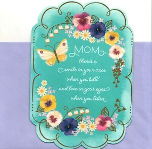 Happy Mother's Day Mom Your Smile Voice Colorful Pansies Hallmark Greeting Card