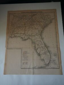 "Antique Map ""Alabama, Georgia, Sud Carolina and Florida"" H. Lange's Atlas"