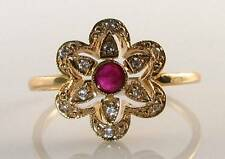 DIVINE 9CT 9K GOLD INDIAN RUBY & DIAMOND FLAMING SUN ART DECO INS RING FREE SIZE