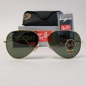 Ray-Ban Classic RB3025 L0205 58mm Aviator Gold Frames W/ Classic Green Lens