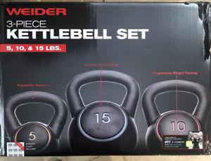 Weider 30 lbs Kettlebell Set include 5 lb 10 lb 15 lb BRAND NEW