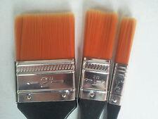 "3tlg. Flach-Pinsel Synthetik:1/2"";1"";2"" für Profis; für Öl, Acryl; Brush;NEU;OVP"