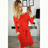 Women Long Sleeve Bodycon Red Casual Party Evening  Tunic Mini Dress