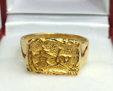 24K Solid Pure Gold Chinese Characters Ring. 9.18 Grams. Sz 9