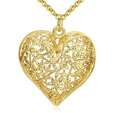 """Women's Heart Pendant Necklace 18K Yellow Gold Filled 18"""" Link Fashion Jewelry"""