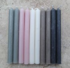 10 SMALL Mini Taper Candles 13 x 1.2cm White Grey Pink Flax Coal Mother of Pearl