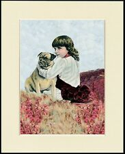 PUG AND LITTLE GIRL LOVELY LITTLE DOG PRINT MOUNTED READY TO FRAME