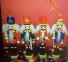 4 X 30cm Colourful Wood Soldier Nutcracker Christmas Ornaments - Drum Bugle Etc