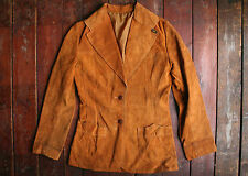 VTG 70s LEE BROWN SUEDE LEATHER WESTERN STYLE JACKET RODEO WOMENS UK 8/9