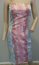 RARE Tracy Reese Floral Pink Blue 100% Silk Strapless Dress 2