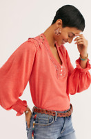 Free People Siesta Fiesta Top Red Coral Embroidered Crochet Smocked Blouse M L