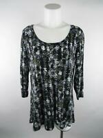 Rose & Olive Women's sz L Green Swing Printed Scoop Neck 3/4 Sleeve Knit Top