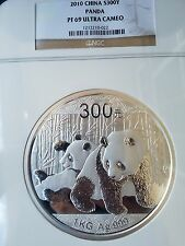 2010 China Panda S300Y NGC PF69 Ultra Cameo 1 Kilo .999 Silver Proof Coin